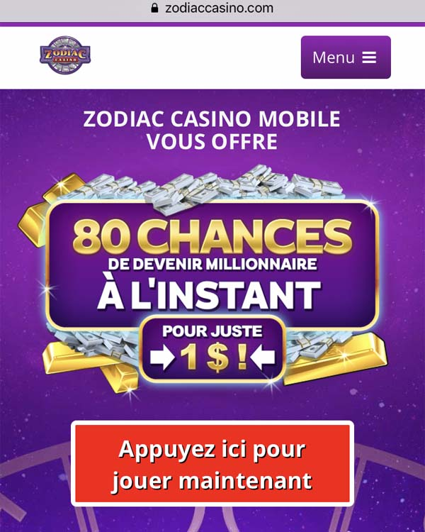 Zodiac Casino sur iPhone et iPad